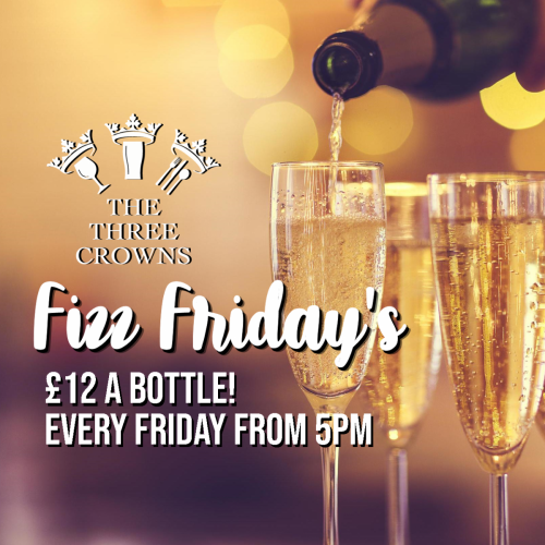 Our old favourite Fizz Friday is back, available from 5pm until 9pm. Just £12 per bottle!