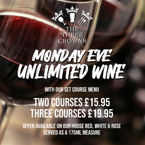 Unlimited wine every Monday evening from 6pm when ordering from our set course menu. Offer available until 9:30pm, servings of 175ml house wine only.